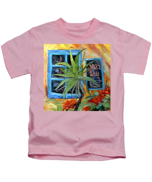 Jazz Bar In Santorini Kids T-Shirt