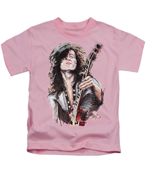 Jimmy Page Kids T-Shirt by Melanie D
