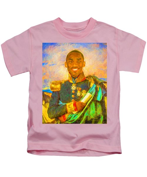 Kobe Bryant Floor General Digital Painting La Lakers Kids T-Shirt
