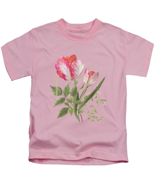 Les Magnifiques Fleurs I - Magnificent Garden Flowers Parrot Tulips N Indigo Bunting Songbird Kids T-Shirt