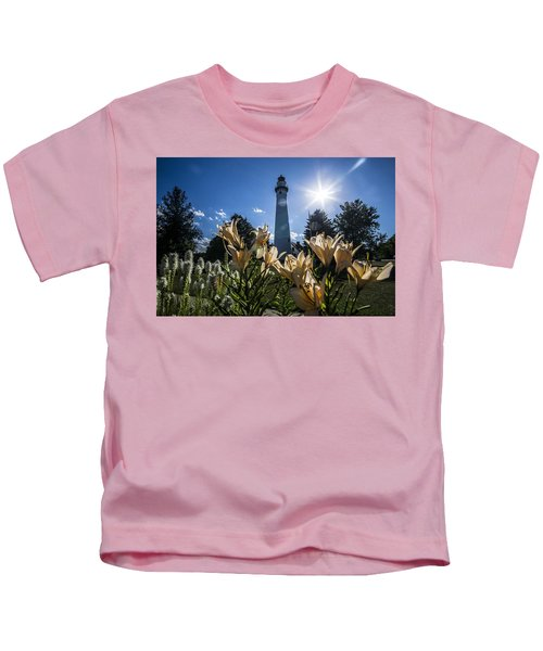 Lighthouse With A Flowery Foreground Kids T-Shirt