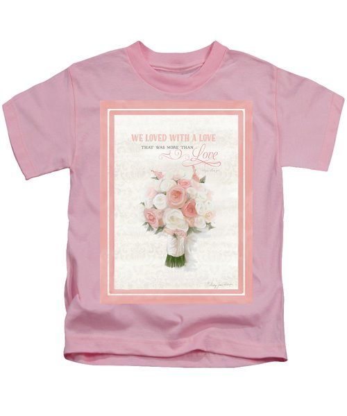 Love Typography Bridal Bouquet Damask Lace Coral Peach Blush Kids T-Shirt