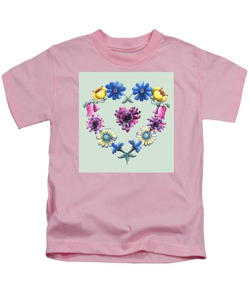 Lovely Flowers Green Kids T-Shirt
