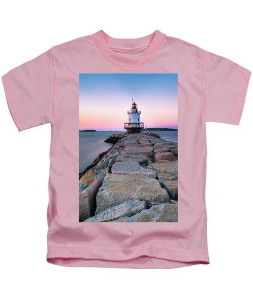 Maine Coastal Sunset Over The Spring Breakwater Lighthouse Kids T-Shirt