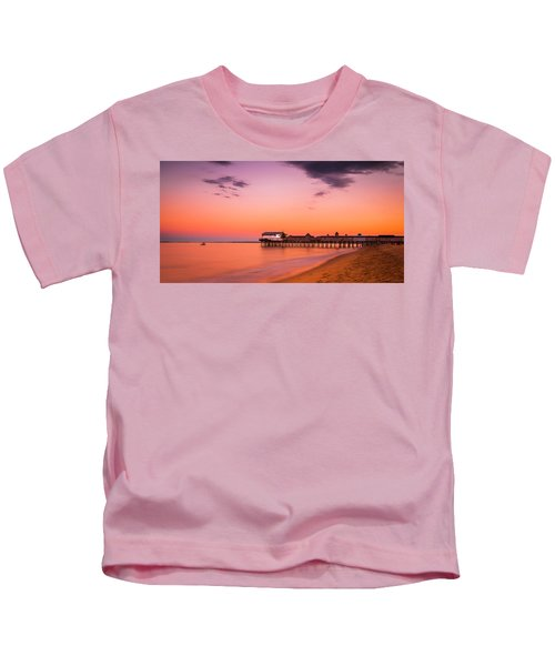 Maine Old Orchard Beach Pier At Sunset Kids T-Shirt