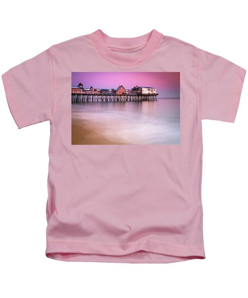 Maine Old Orchard Beach Pier Sunset  Kids T-Shirt