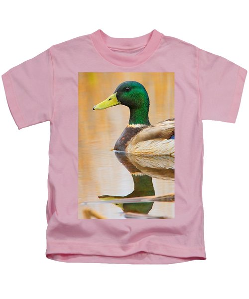 Kids T-Shirt featuring the photograph Mallard Mirror by William Jobes
