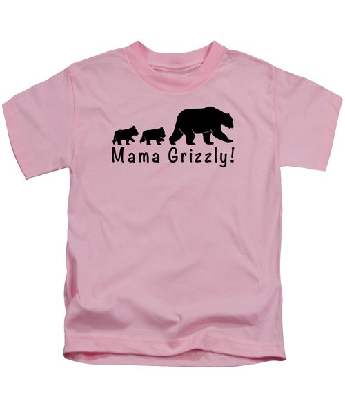 Mama Grizzly And Cubs Kids T-Shirt by A C