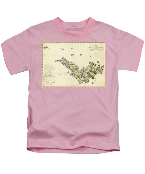 Map Of Saint Barts 1801 Kids T-Shirt