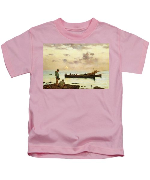 Marina With A Fishing Boat And Boys Kids T-Shirt