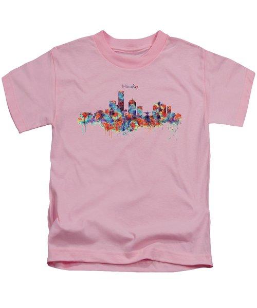 Milwaukee Watercolor Skyline Kids T-Shirt by Marian Voicu