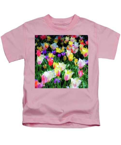 Mixed Tulips In Bloom  Kids T-Shirt