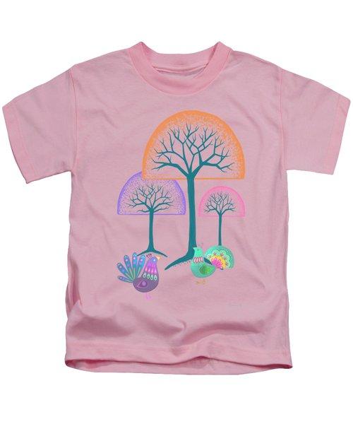 Moon Bird Forest Kids T-Shirt by Little Bunny Sunshine