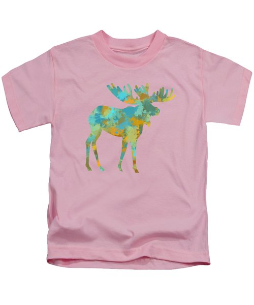 Moose Watercolor Art Kids T-Shirt