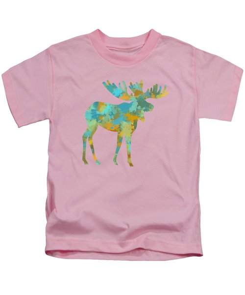 Kids T-Shirt featuring the mixed media Moose Watercolor Art by Christina Rollo