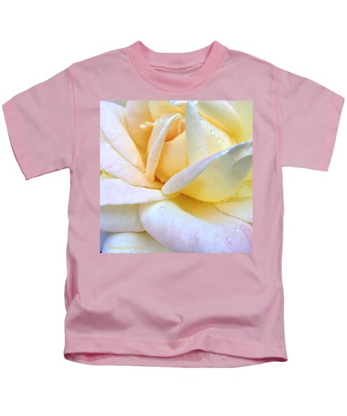 Morning Dew On A Pale Yellow Rose Kids T-Shirt