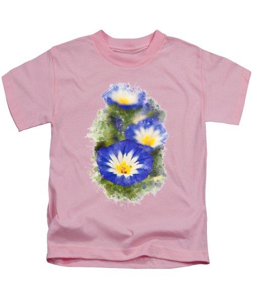 Morning Glory Watercolor Art Kids T-Shirt