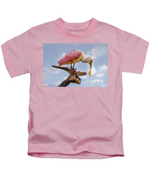 Morning Pinks In Blue Kids T-Shirt