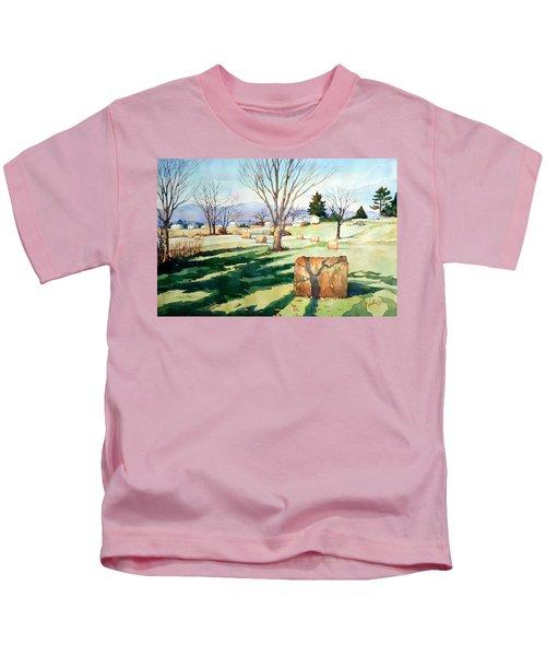 Morning Sun On Haybales Kids T-Shirt