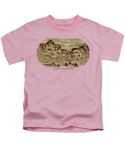Mount Rushmore Woodburning 2 Kids T-Shirt by John M Bailey