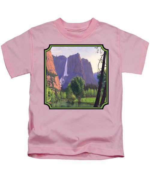 Mountains Waterfall Stream Western Landscape - Square Format Kids T-Shirt