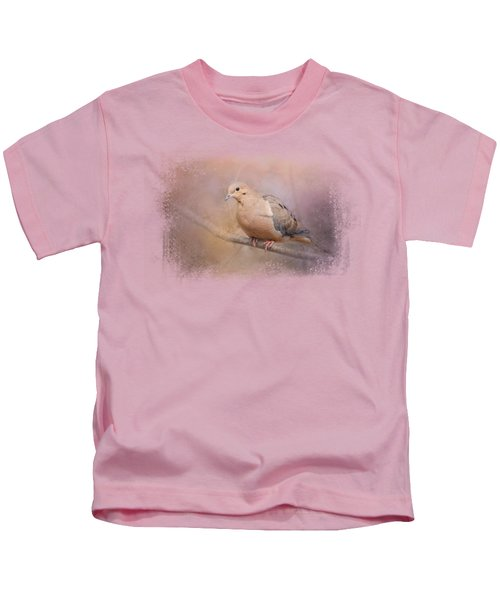 Mourning Dove On A Winter Evening Kids T-Shirt