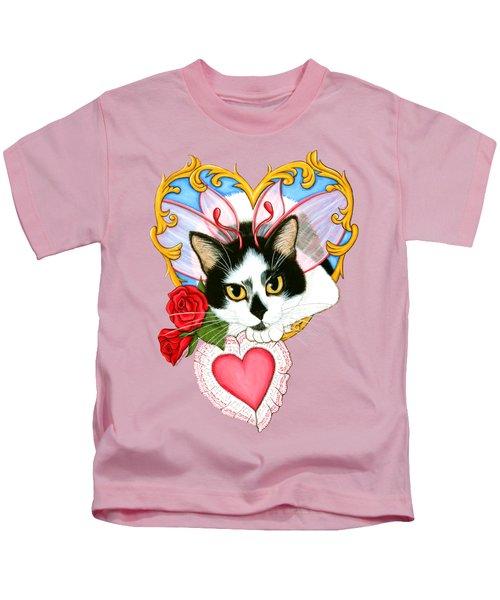 My Feline Valentine Tuxedo Cat Kids T-Shirt