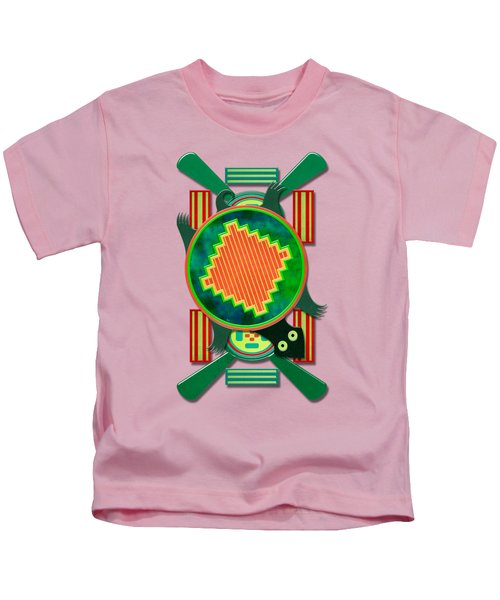 Native American 3d Turtle Motif Kids T-Shirt by Sharon and Renee Lozen