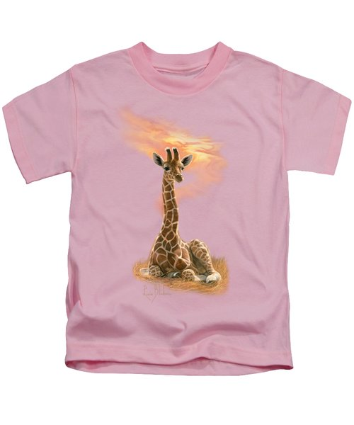 Newborn Giraffe Kids T-Shirt by Lucie Bilodeau