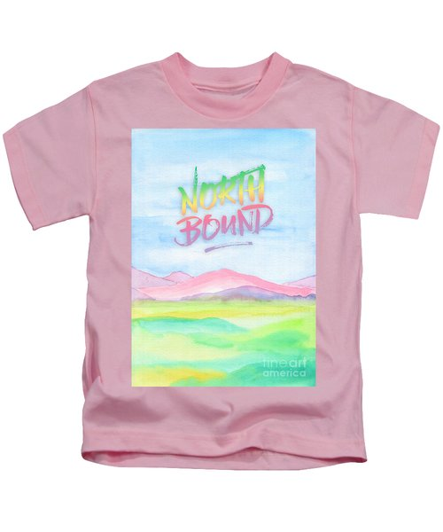 North Bound Pink Purple Mountains Watercolor Painting Kids T-Shirt