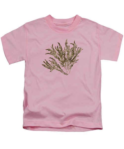 Kids T-Shirt featuring the mixed media Ocean Seaweed Plant Art Ptilota Sericea Square by Christina Rollo