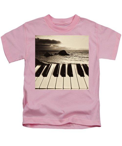 Ocean Washing Over Keyboard Kids T-Shirt