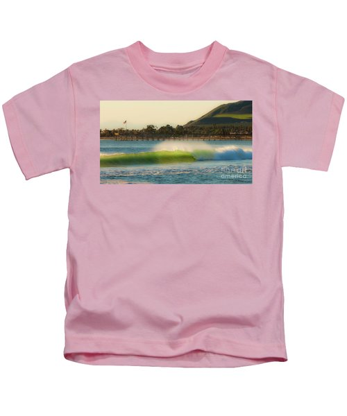 Offshore Wind Wave And Ventura, Ca Pier Kids T-Shirt