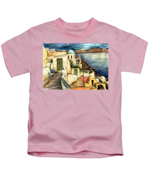 Oia Santorini Greece - Watercolor Kids T-Shirt