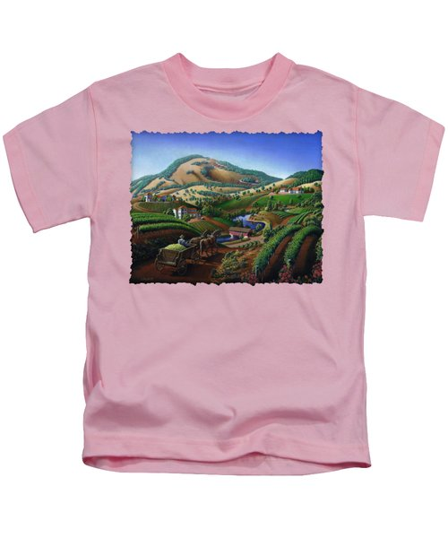Old Wine Country Landscape - Delivering Grapes To Winery - Vintage Americana Kids T-Shirt by Walt Curlee