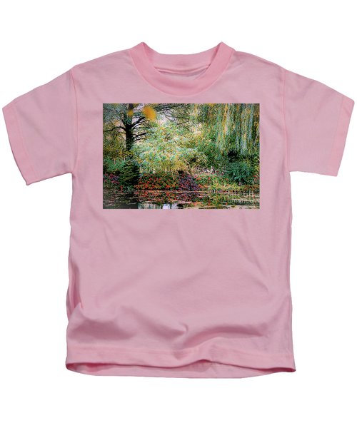 Reflection On, Oscar - Claude Monet's Garden Pond Kids T-Shirt