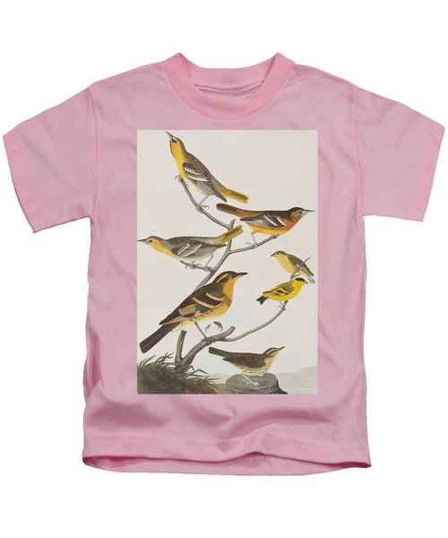 Orioles Thrushes And Goldfinches Kids T-Shirt by John James Audubon