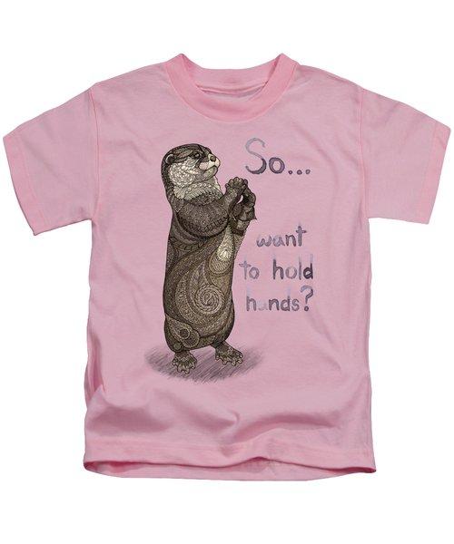 Otter Valentine Kids T-Shirt by ZH Field
