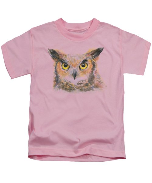 Owl Watercolor Portrait Great Horned Kids T-Shirt