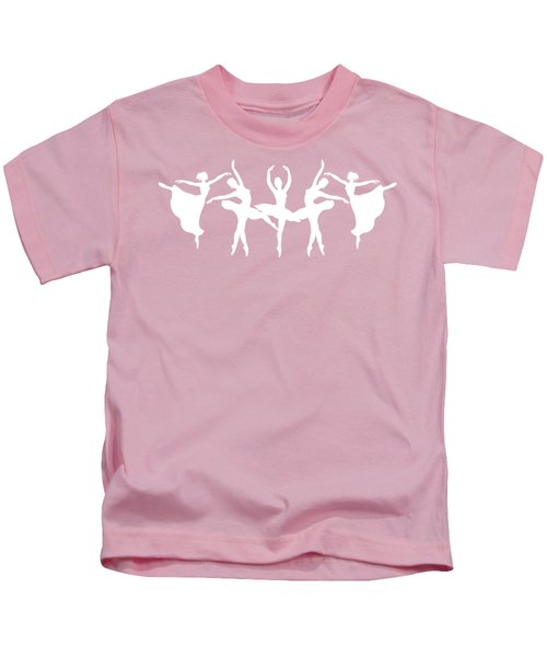 Passionate Dance Ballerinas Silhouettes In White Kids T-Shirt