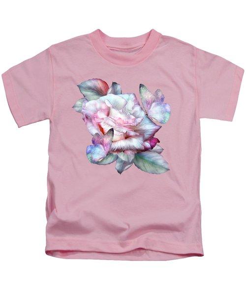 Pastel Rose And Butterflies Kids T-Shirt