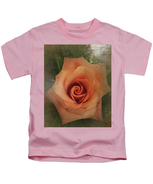 Kids T-Shirt featuring the painting Peach Rose by Marian Palucci-Lonzetta