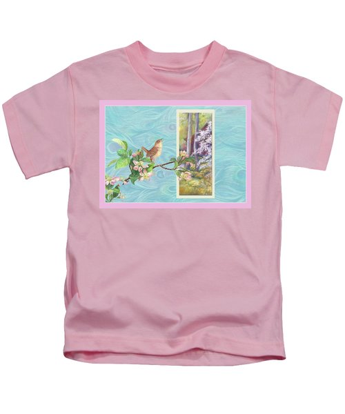 Peacock And Cherry Blossom With Wren Kids T-Shirt