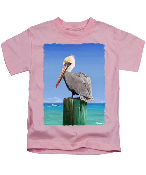 Pelicans Post Kids T-Shirt by Kevin Putman