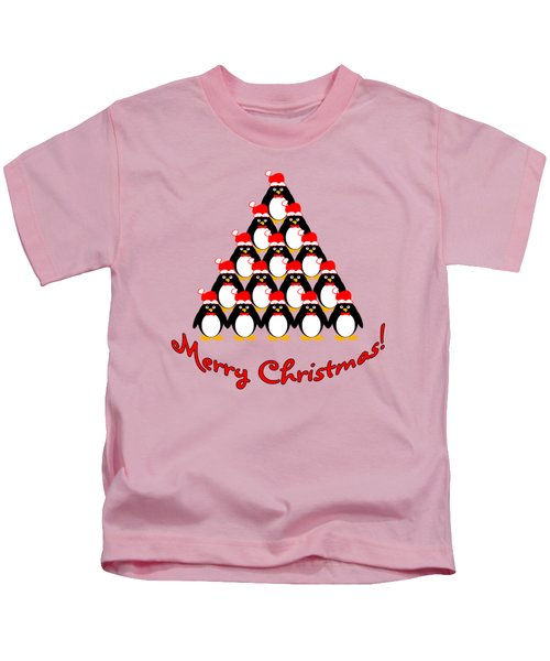 Penguin Christmas Tree Kids T-Shirt by Methune Hively