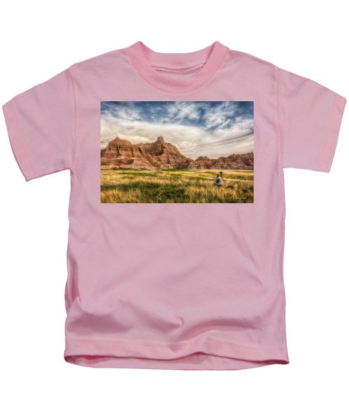 Photographer Waiting For The Badlands Light Kids T-Shirt