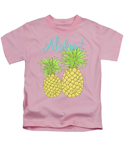 Pineapple Aloha Tropical Fruit Of Welcome Hawaii Kids T-Shirt by Tina Lavoie