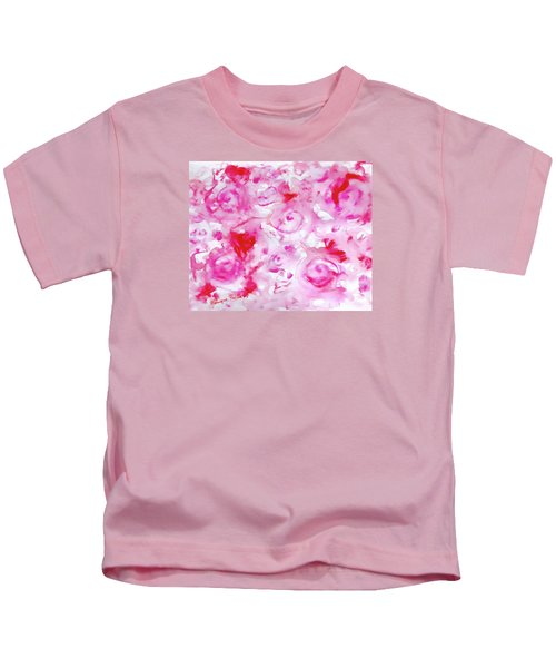 Pink Abstract Floral Kids T-Shirt