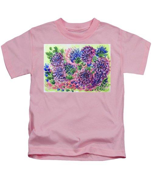 Pink And Blue Flower Flurry Kids T-Shirt