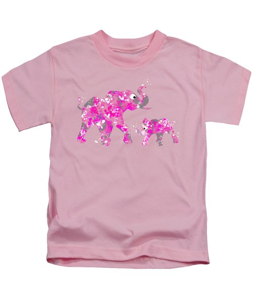 Pink Elephants Kids T-Shirt by Christina Rollo